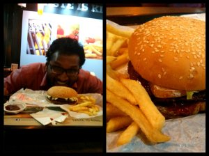 """""""Destroying double patty beef burger"""" - quote Johanns. Pics from Johanns's fancy Nexus 4 cam."""