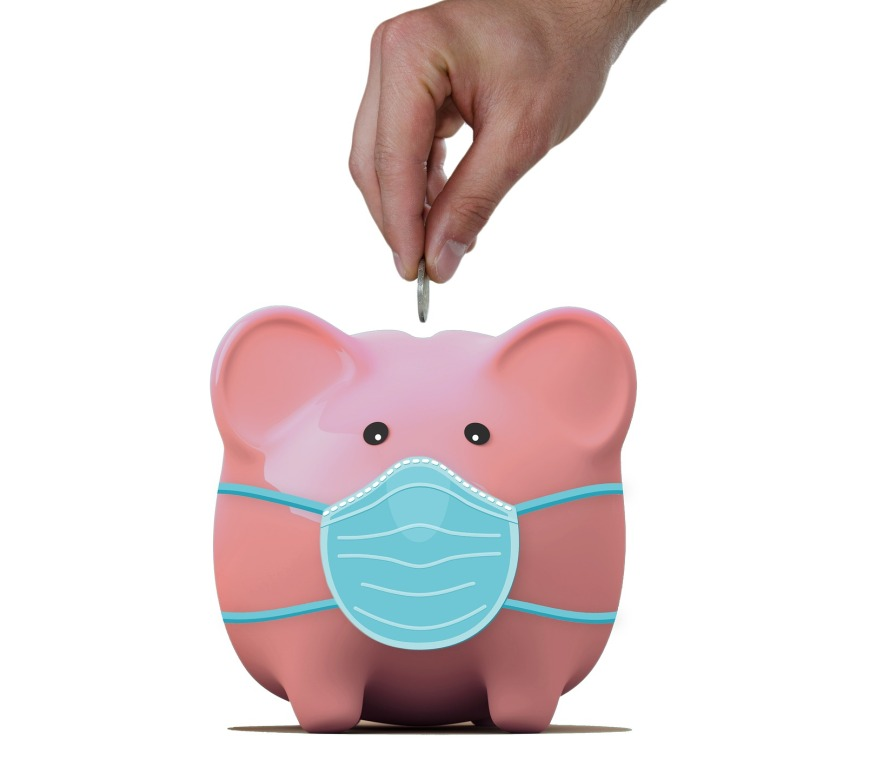Piggy bank with a mask